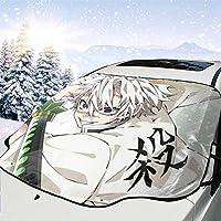 鬼滅の刃 フロントカバー 車フロントガラスカバー 車サンシェード 雪対策 凍結防止シート フロントガラスカバー 普通車/軽自動車/SUVに適用(147×118cm)