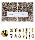 VOSOVO 21 rejillas y 10040 piezas de cristal transparente, gemas Bedazzler para manualidades y diseño de uñas, suministros de uñas, diamantes de imitación para uñas - 1400+8600 dorado