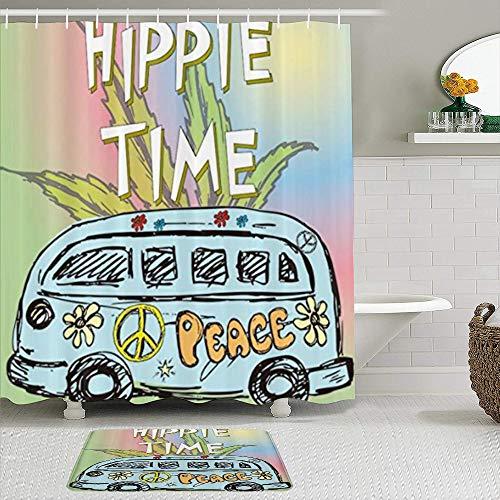 TARTINY Juego de Cortina de Ducha de2piezas con alfombras antideslizantesCortina de la Ducha,Furgoneta Hippie Vintage de Acuarela con Hojas de plátano y 12 Ganchos