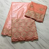 NUEVA encaje de tul de encaje francés para coser la ropa del vestido Bazin africana Tela 5 yardas + 2 yardas de tela del cordón suizo de la gasa (PEACH)