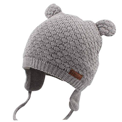 Duoyeree Baby Winter Hat Earflap Cotton Lining Knit Beanie Cap for Toddler Girl Boy (6-12 Month, Grey)
