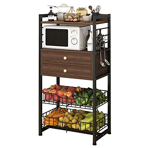 """Utility Tall Kitchen Baker's Rack with Wire Basket and a pair of Drawers, Free Standing Storage Shelf,for Home Office, Easy Assembly, Microwave Oven Stand with Non-Slip Feet and a pair of""""S Hooks"""