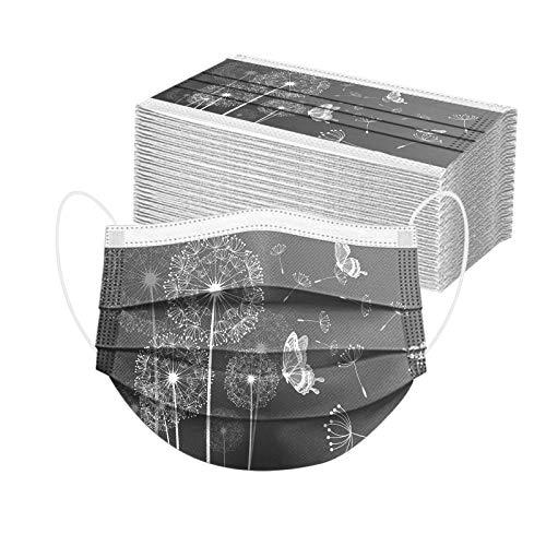Lulupi 50 Stück Einweg Mundschutz Mund-Nasenschutz Pusteblume Bedruckt 3 lagig Einmal MNS Löwenzahn Motiv Halstuch Mund und Nasenschutz Staubdicht Atmungsaktiv Multifunktionstuch Schals Tücher