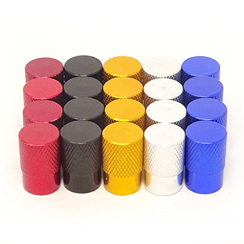 yueton 20pcs Colorful Round Flat Top Aluminum Bicycle Bike Tire American Style Schrader Valve Caps Dust Covers