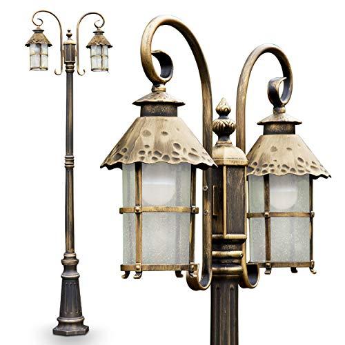 Außenleuchte Tolep, Kandelaber in antikem Look, Aluguß in Braun/Gold mit Klarglas-Scheiben, 2-armige Wegeleuchte 220 cm, Retro/Vintage Gartenlampe, E27-Fassung, je max. 60 Watt, IP44
