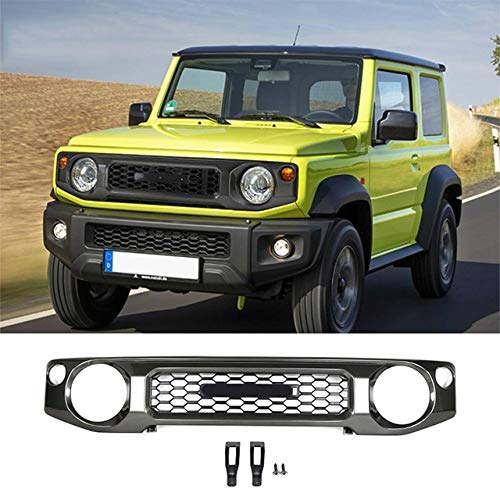 5107T93R1bL - Front Grill Grill Racing, Auto Front-Grill-Grill Honeycomb Ineinander Greifen-Abdeckung Racing Grill Zubehör Gepasst Fit for Suzuki Jimny 2019 2020 Stoßstange Gitter Abdeckung (Color : Black)