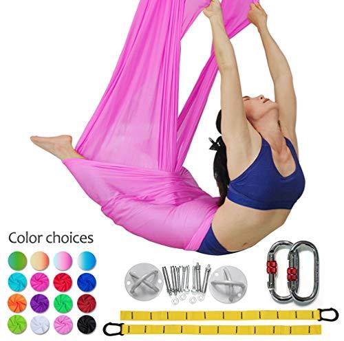 Set Anti Gravità Per Yoga Swing Elastico Amaca Senza Cuciture Aerial Silks, Pink
