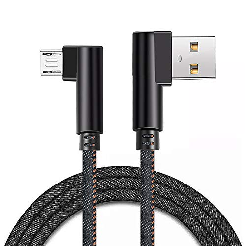 Right Angle Micro USB Cable Denim Braided Double 90 Degree Android USB 2.0 High Speed Data Sync Charger Cord Quick Charging Cable Compatible with Android Smartphones and Tablets (3ft /1meter, Black)