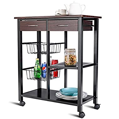 CHEFJOY Rolling Kitchen Cart Trolley Storage Island Utility Cart on Wheels Home Restaurant Dining Serving Cart with Drawers Baskets Shelf