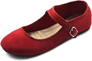 Ollio Women's Shoes Faux Suede Casual Mary Jane Light Ballet Flats