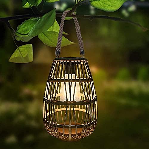 Solar Lantern Outdoor Hanging Waterproof - Pearlstar Solar Rattan Lantern with Handle, Solar Table Lamp with Edison Bulb, Rustic Style, Solar Large Light for Patio Garden Wedding Home Decor