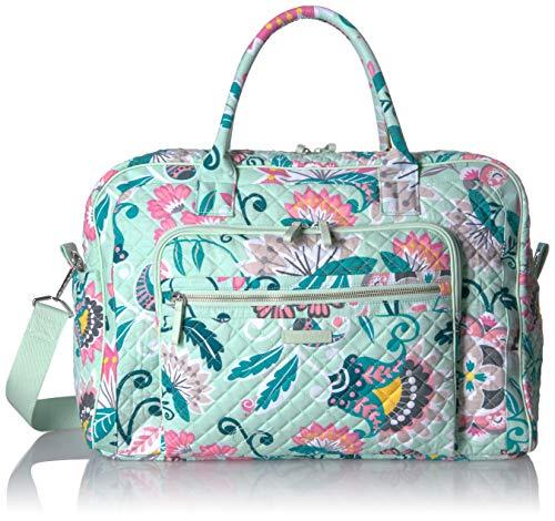 Vera Bradley Women's Iconic Signature Cotton Weekender Travel Bag, Mint Flowers, One Size