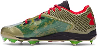 Under Armour New Mens Deception Low DT Baseball Cleats Dune/Black/Red Sz 16 M