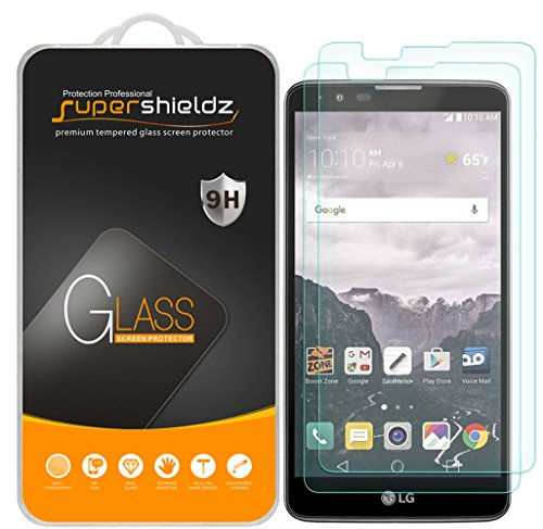 (2 Pack) Supershieldz Designed for LG (Stylo 2) Tempered Glass Screen Protector, 0.33mm, Anti Scratch, Bubble Free