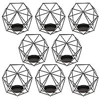 Amuzocity 8セット3D幾何学的な結婚式のクリスマス燭台奉納キャンドルティーライトホルダー - ブラック
