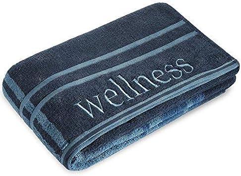 CelinaTex Wellness Saunatuch Doppelpack 80 x 200 cm dunkel blau Baumwolle Frotteehandtuch mit Stickerei Strandtuch