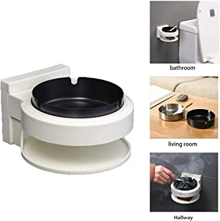 VSTYLE Cigarettes Ashtray, Stainless Steel Wall Mounted Indoor Ashtray Hanging Tray Punch-Free Suction Cup with Smoker Container for Bathroom Toilet Porch Hotel Hallway Kitchen