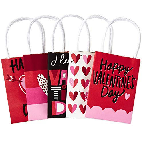 Hallmark 5' Mini Paper Valentines Day Gift Bags Assortment (Pack of 5: Valentine Hearts) for Gift Cards, Galentines Day, Teacher Presents