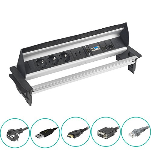 Elbe versenkbare Einbausteckdose mit USB und HDMI, Tischsteckdose mit VGA- und RJ45 Netzwerkanschlüsse, Steckdosenleiste | Aluminium | schwarz-grau...