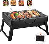 Supreme Mall Folding Portable Outdoor Barbeque Charcoal BBQ Grill Oven Black Carbon Steel, Black