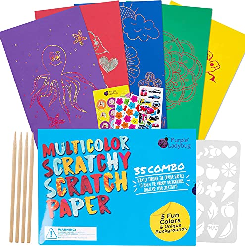 Purple Ladybug 5 Colors, 35 Sheets Scratch Paper Art Craft Kit for Kids - Red, Green, Purple, Yellow, & Blue Scratch Papers - Fun Arts & Crafts Activity Set, Unique Easter Gift for Girls, Boys & Teens