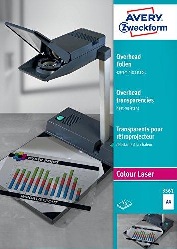 AVERY Zweckform 3561 Overhead-Folien für Farblaserdrucker (50 Transparentfolien, A4, spezialbeschichtet, stapelverarbeitbar, extrem hitzestabil durch erhöhte Folienstärke 0,13mm, lösemittelfrei)