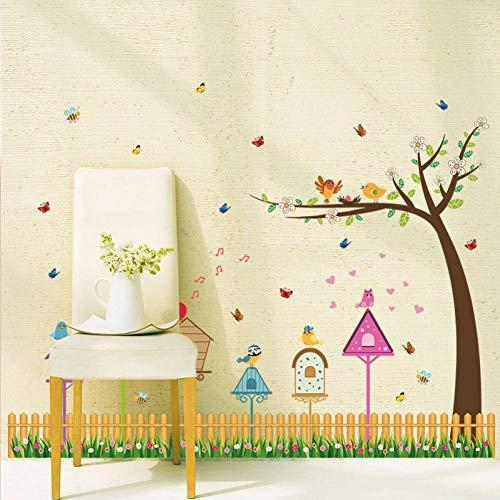 GUDOJK Muursticker cartoon hek vogel nest brievenbus kinderen muurstickers voor kinderen kamers kinderkamer decoratie stickers s muursticker