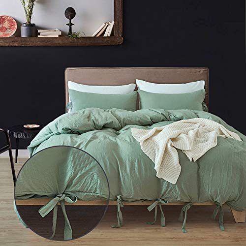 MUKKA Bowknot Style Washed Cotton Technical Duvet Cover King Size 3 Pieces, Sea Green Modern Simple Strap Design