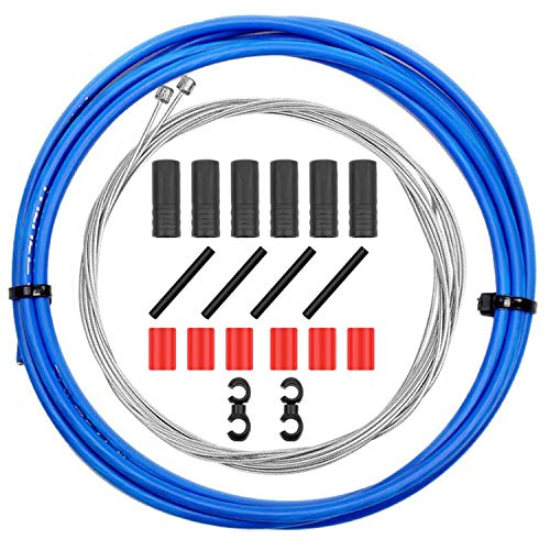 CTRICALVER Cable y carcasa de freno de bicicleta, Juego de cables de freno de bicicleta de montaña, Cables universales de freno de bicicleta para MTB/bicicleta de carretera (azul)