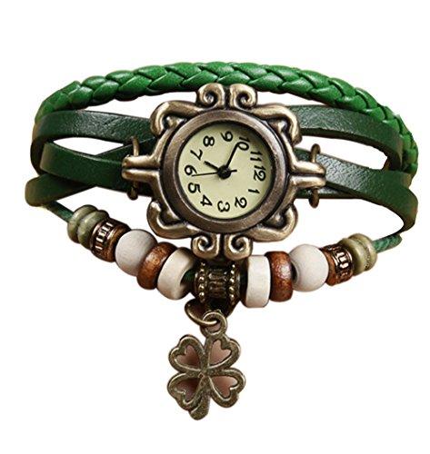 Demarkt Retro Vintage Klee Design Damen Armbanduhr Armreif Uhr Anhänger Spangenuhr Quarzuhren (Grün)