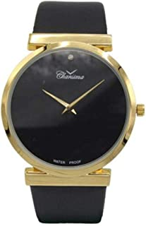 Charisma Analog Leather Watch For Men - Black and Gold - C6034BGB