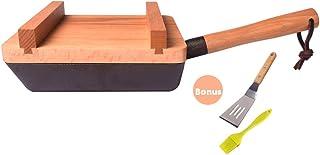 Mini Sartén Takoyaki Sin Recubrimiento de Hierro Rectangular Japonesa Sartén con Tapa de Madera Puede Funcionar Como Fuente de Servir,Negro