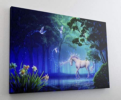Einhorn Zauberwald Magie Zauber Leinwand Bild Wandbild Kunstdruck L0467 Größe 70 cm x 50 cm