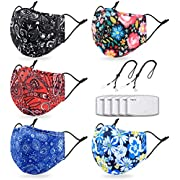 Cloth Face Maks Washable Reusable for Women Men with 2 Adjustable Lanyards,Build-in Nose Wire and Filter Pocket,Breathable Cotton Dust Cloth Fabric with Bohemian Print for Outdoor(5 Pack,Bohemian)