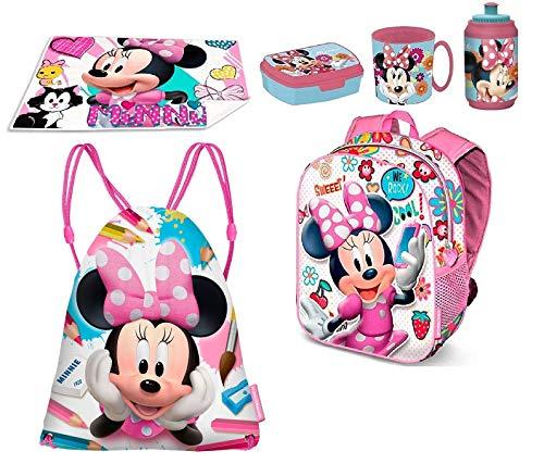Minnie Disney Shool Zainetto Zaino, Sacca Sport, Porta Merenda Scuola Asilo Tempo Libero