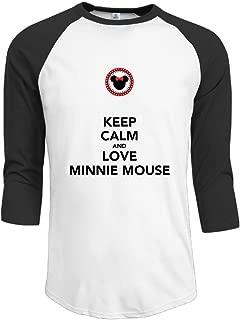 Duola Men's 3/4 Sleeve Raglan Tshirt Keep Calm And Love Mouse Black