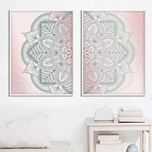 Terilizi Marokkaanse mandala muurkunst poster canvas abstracte druk eenvoud decoratieve afbeelding schilderij moderne woonkamer decoratie 50 * 70 cm-niet ingelijst-2 stuks