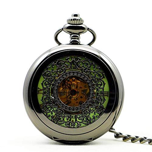 DSHUJC Reloj de Bolsillo, Rejillas de Grabado de Plata Bonitas y Elegantes, Reloj de Bolsillo mecánico de Cuerda Manual para Hombres y Mujeres, Pendnat con Cadena Fob