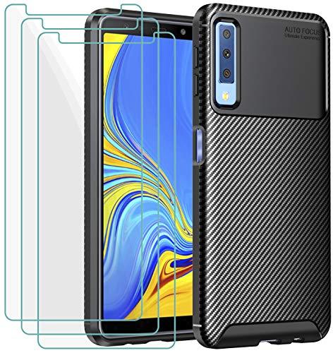 iVoler Cover per Samsung Galaxy A7 2018, con 3 Pezzi Pellicola Vetro Temperato, Fibra di Carbonio Custodia in Morbida Silicone TPU Anti-Graffio Antiurto Protettiva Case - Nero