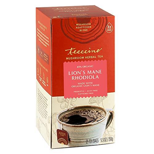 Teeccino Mushroom Adaptogen Herbal Tea – Lion's Mane Rhodiola Rose – Support Your Health with Mushrooms & Adaptogenic Herbs – Cognitive & Stress Relief Tea, 25 Tea Bags