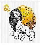 Astrologie Duschvorhang Sternzeichen Leo Symbol Kunstdruck für Badezimmer