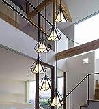 Beautiful Home Decoration Lamps Escalera de caracol retro pendiente de la lámpara de la lámpara Negro de metal y pantalla de la tela lámparas colgantes de luz 6 * E27 Altura-ajustable Dekor Suspensión