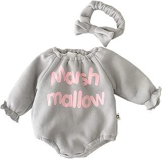 Xifamniy Infant Babies Romper Letter Print Plus Velvet Long Sleeve Jumpsuit&Headband