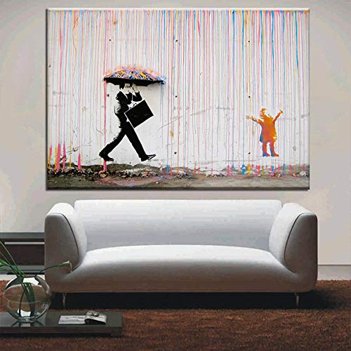 N / A Bunte Regen Drucke auf Banksy Kunst Graffiti Leinwand Malerei Wandbild Poster und Wohnzimmer Dekoration Malerei