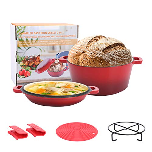 Asany 2in1 Enameled Cast Iron Double Dutch Oven Set 5QT Cast Iron Casserole Pot  16QT Skillet Lid with Handle Covers and Stand for Home Cooking Oven BBQ