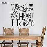 yaonuli Adesivo murale Cucina Cucina è Il Cuore della Famiglia Decalcomania della Parete del Vinile Interno casa Ristorante da pranzo75x81cm