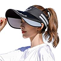 [LeafIn]サンバイザー レディース UVカット キャップ 帽子 メンズ 夏 つば広 吸汗 日よけ 日焼け防止 つば広幅調節可能 紫外線対策 オールシーズン 登山 釣り 自転車 通勤 サイキング 作業 ガーデニング 男女兼用 (黒)