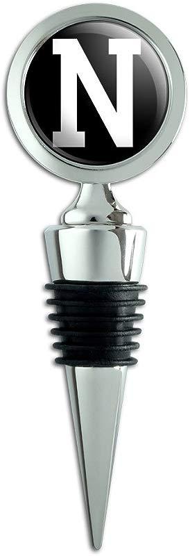 Letter N Initial Black White Wine Bottle Stopper