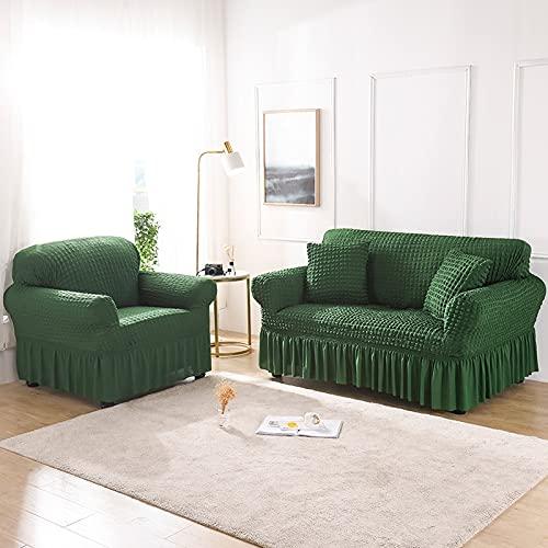 ASCV Asiento Funda de sofá elástica de Color sólido para Sala de Estar Fundas seccionales elásticas Impresas Funda de sofá en Forma de L A9 2 plazas