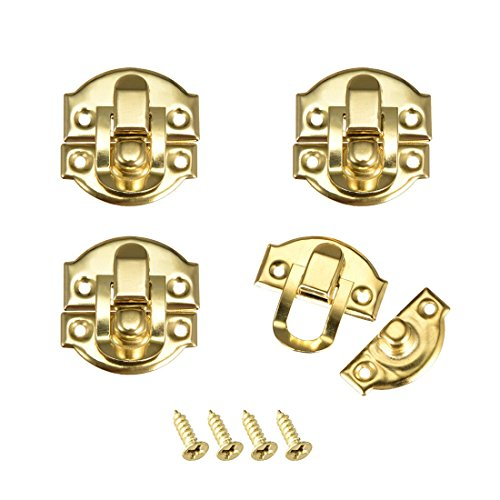 Pestillo de caja de joyería de morallón decorativo dorado de tamaño pequeño de estilo retro con tornillos 4 unidades